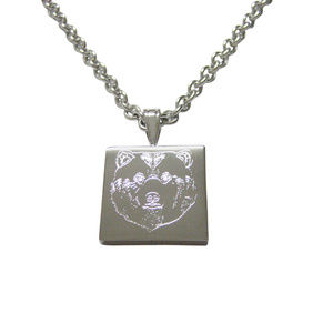 Silver Toned Etched Bear Head Unisex Necklace